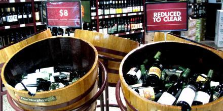 Bargain bins at an alcohol super mart