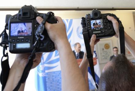 Press cameras at the UN