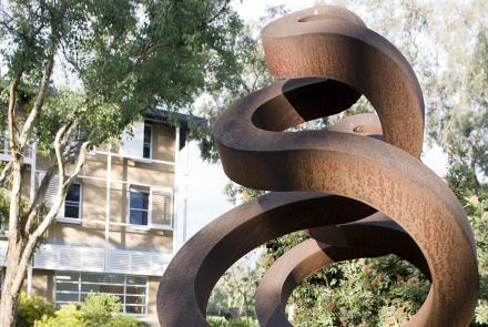 Image: Guardians Sculpture outside RegNet Building (ANU)