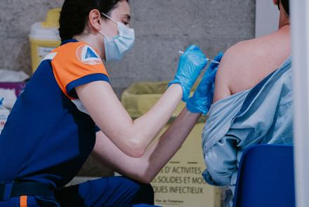 A person receiving injection