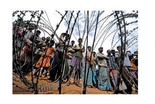 View of Sri Lankan populace through barbed wire.