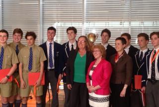 Left to Right: Virginia Marshall, Elizabeth Ellis and Ellen McKenzie with the winning team, St Ignatius College. Photos from Paul & Virginia Marshall