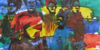 Oil painting of people against a background of primary colours