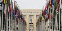 Flags of the 193 member states of the UN, Allée des Drapeaux, Palais des Nations, Geneva.