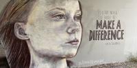 Photo of wall mural portrait of Greta Thunberg by Amanda Newman Art, taken by Paul O'Connor.