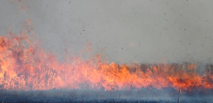 Stubble Burning  Lake Wongan. Victoria.