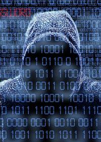 Man in a hoody behind computer code