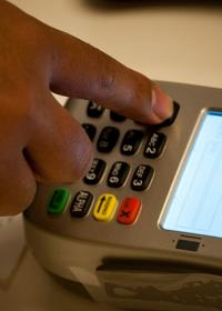 credit card terminal in use
